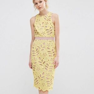 Women's ASOS Lace Yellow Fitted Midi Dress